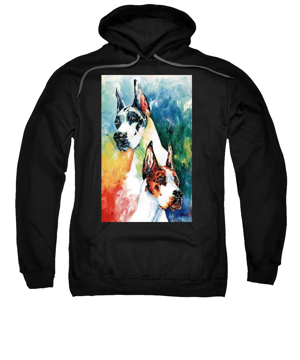 Great Dane Sweatshirt featuring the painting Fire And Ice by Kathleen Sepulveda