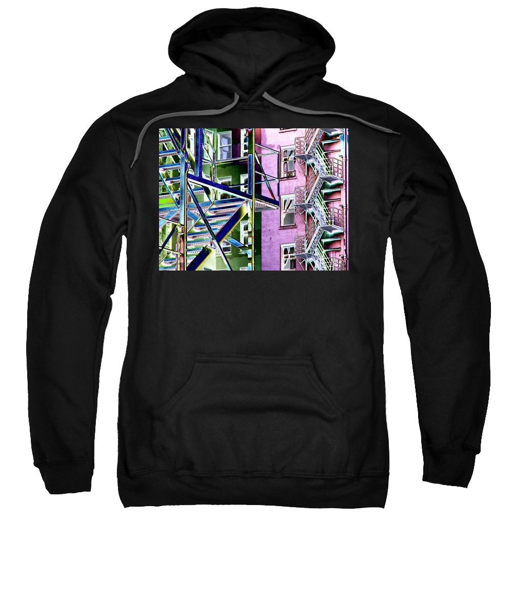 Fire Sweatshirt featuring the digital art Fire Escape 2 by Tim Allen