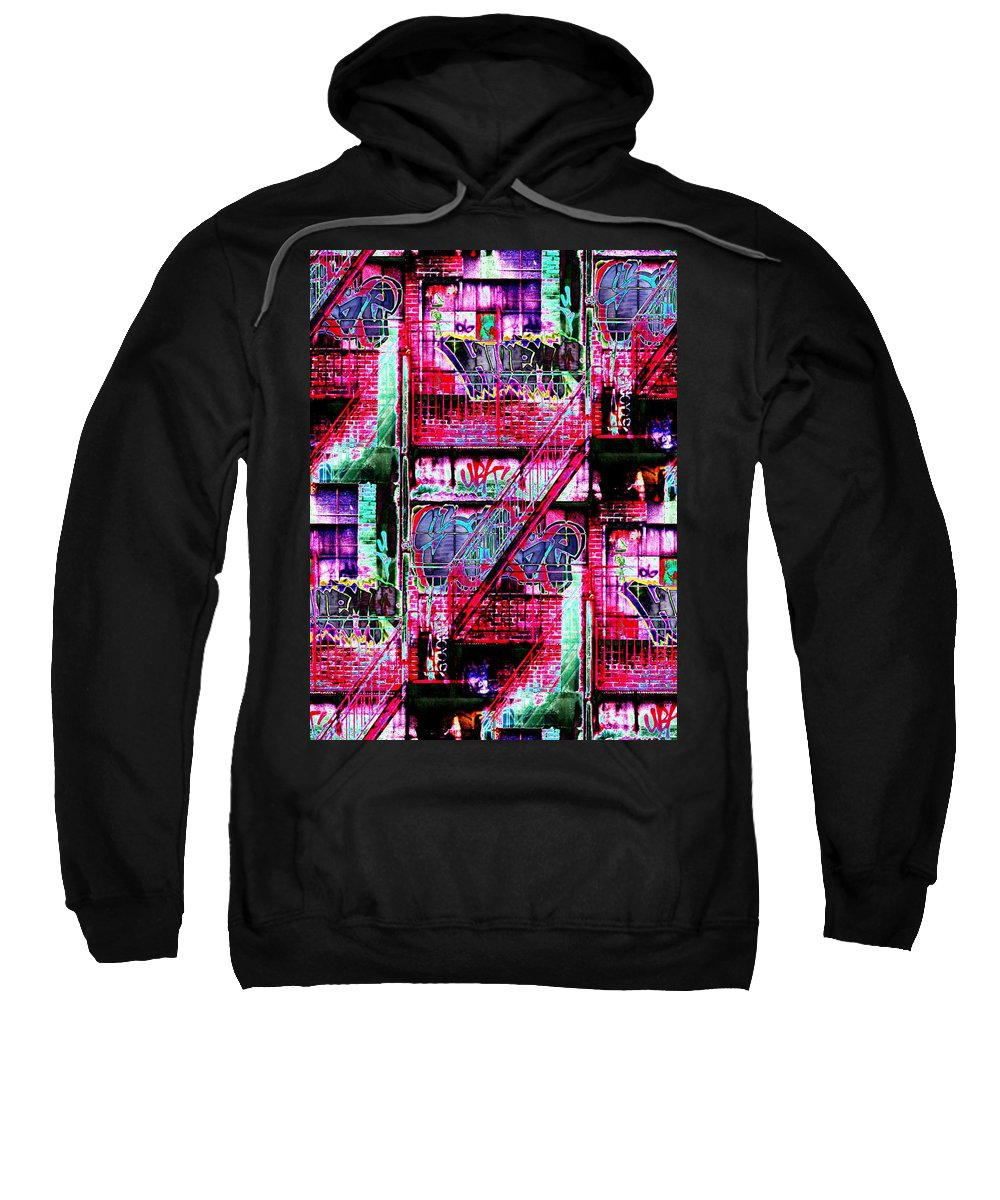 Fire Escape Sweatshirt featuring the digital art Fire Escape 3 by Tim Allen