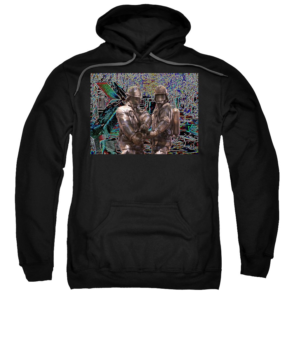 Fire Fighter Sweatshirt featuring the photograph Fire Fighters Memorial Seattle by Tim Allen