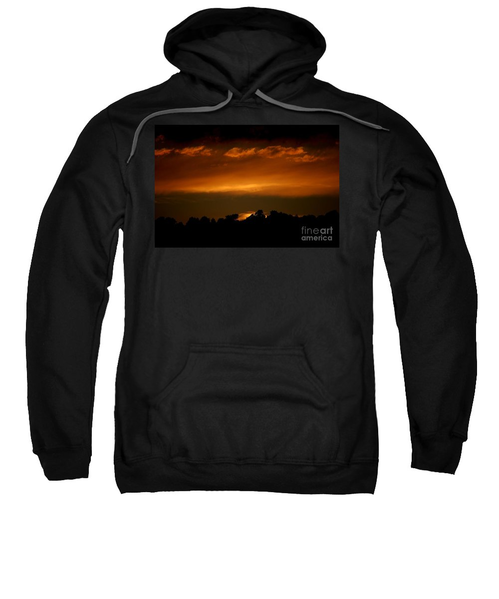 Digital Photo Sweatshirt featuring the photograph Fire In The Sky by David Lane