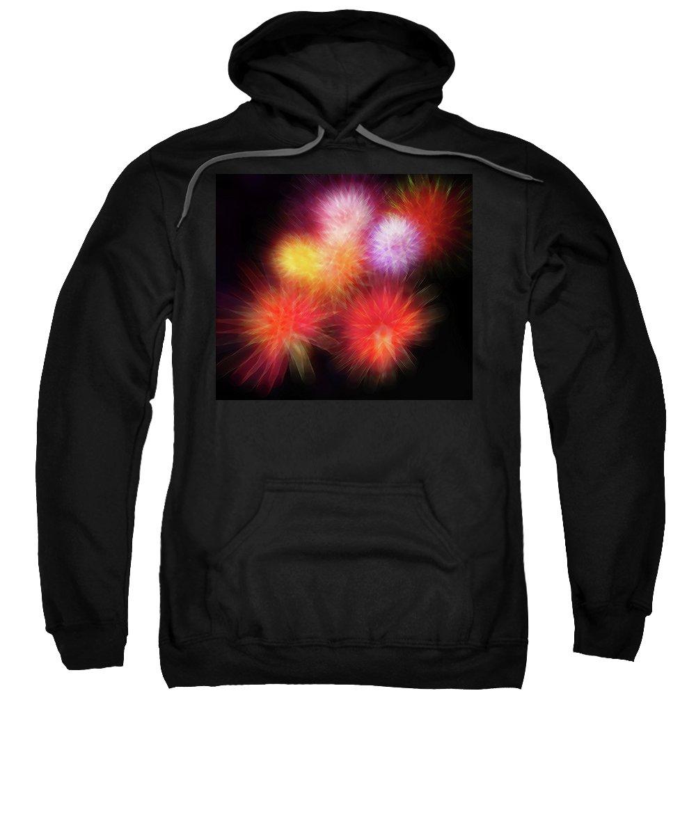 Fireworks Sweatshirt featuring the digital art Fire Mums Floral - Fireworks Collage by Steve Ohlsen