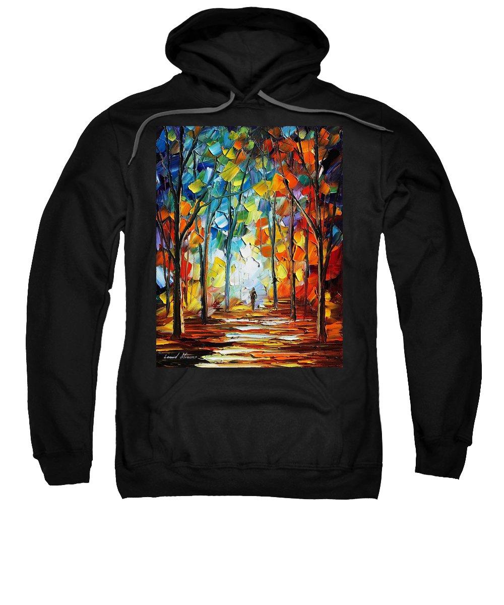 Afremov Sweatshirt featuring the painting Fire Of Feelings by Leonid Afremov
