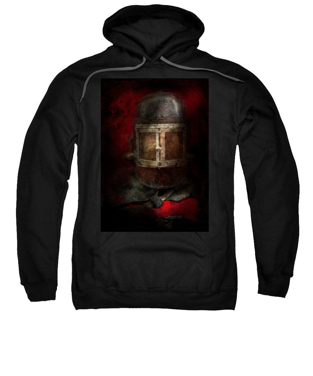 Fireman Sweatshirt featuring the photograph Fireman - The Mask by Mike Savad