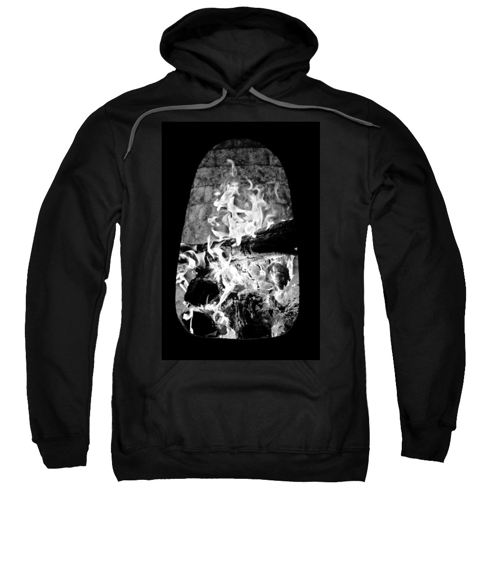 Black And White Sweatshirt featuring the photograph Fireplace Black And White by Jill Reger