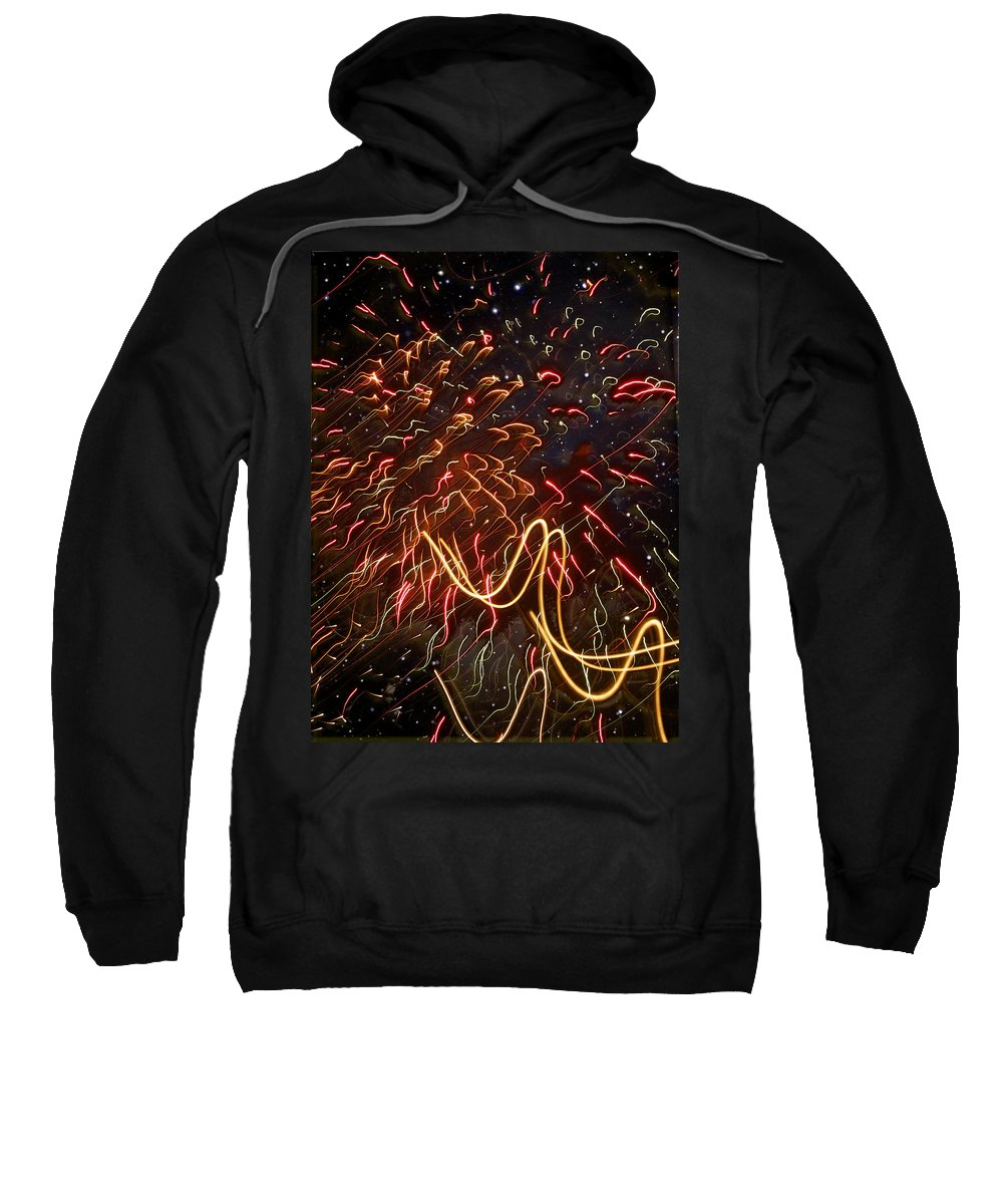 Day Sweatshirt featuring the photograph Fireworks Against The Stars by Mark Sellers