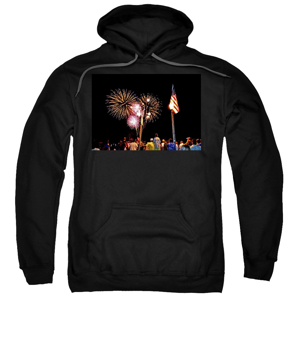 4th Of July Sweatshirt featuring the photograph Fireworks And The Flag by Nature Photographer