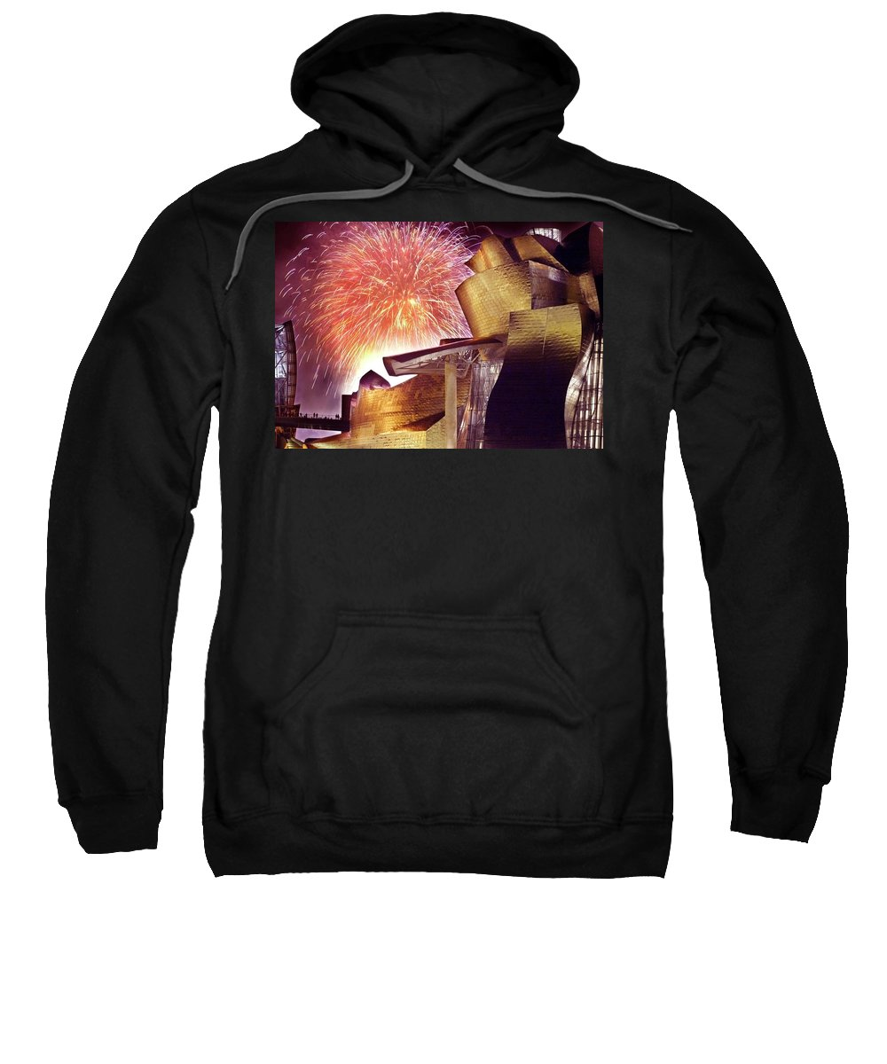 Spain Sweatshirt featuring the photograph Fireworks At Guggenheim by Rafa Rivas