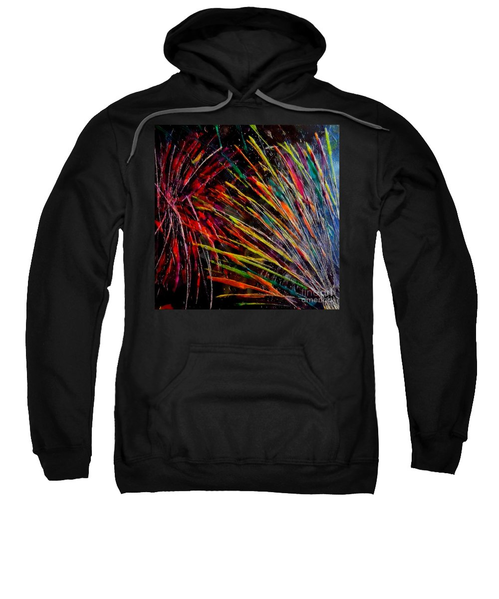 Fireworks Sweatshirt featuring the painting Fireworks In Bled by Dragica Micki Fortuna