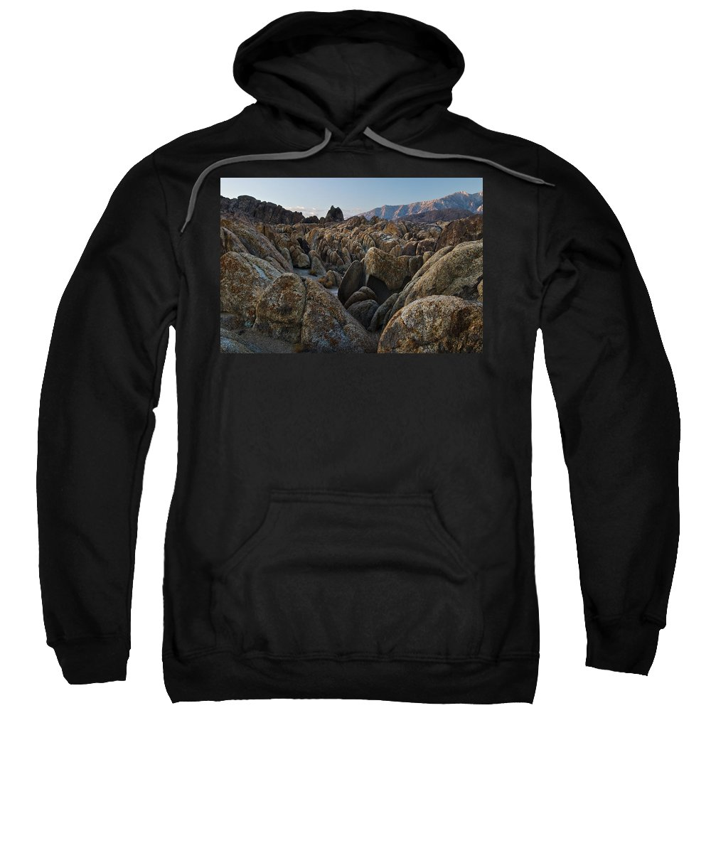 Arid Sweatshirt featuring the photograph First Light Over Alabama Hills California by Steve Gadomski
