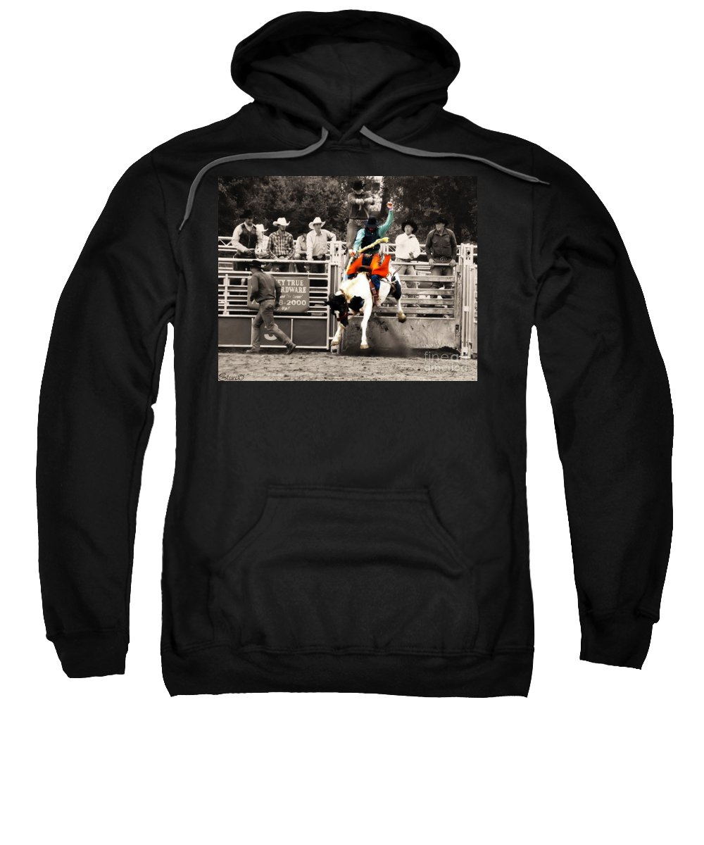 Cowboy Sweatshirt featuring the photograph First Out Of The Chute by September Stone
