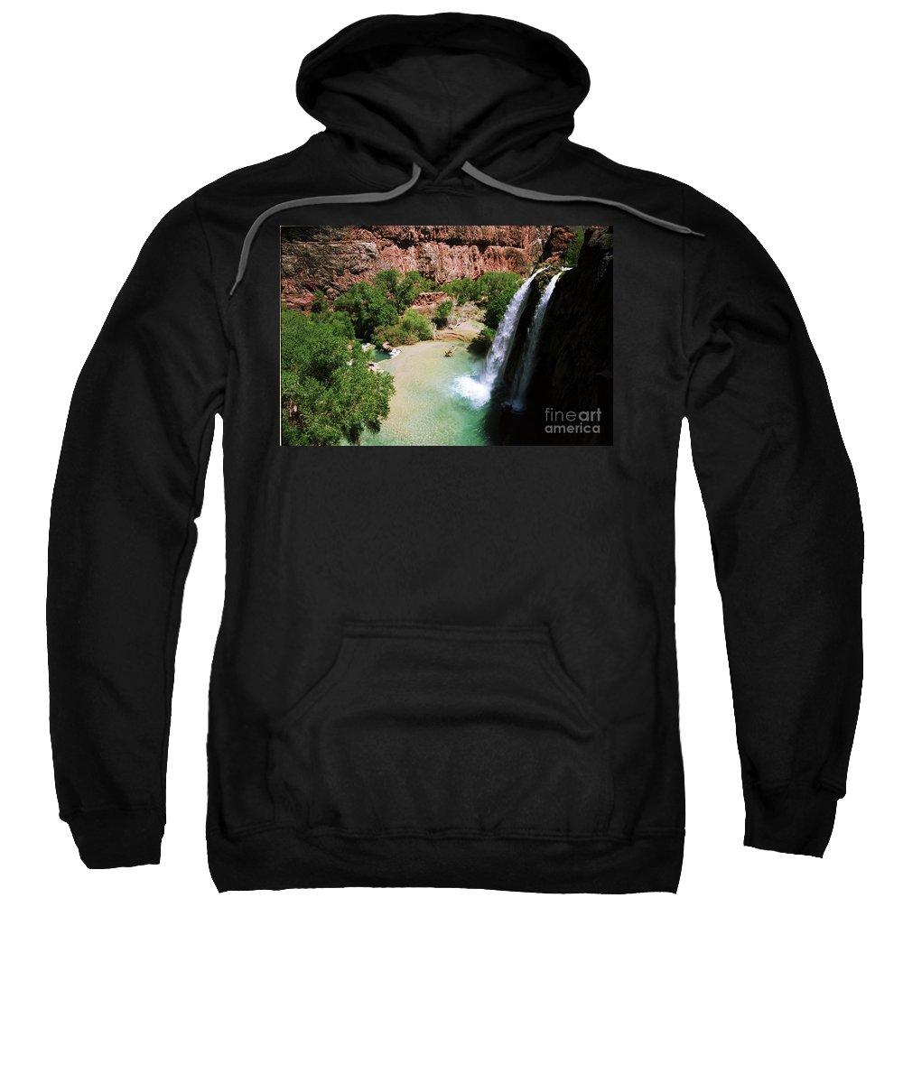 Havasupai Sweatshirt featuring the photograph First View of Havasu Falls by Kathy McClure