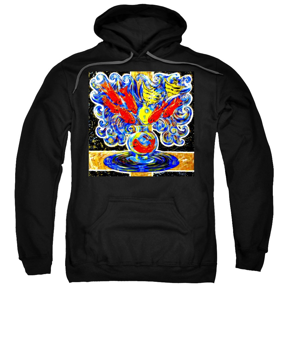 Inga Vereshchagina Sweatshirt featuring the painting Fish Bouquet by Inga Vereshchagina