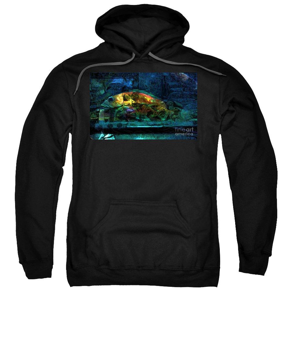 Fish Sweatshirt featuring the digital art Fish Wheels by Ron Bissett