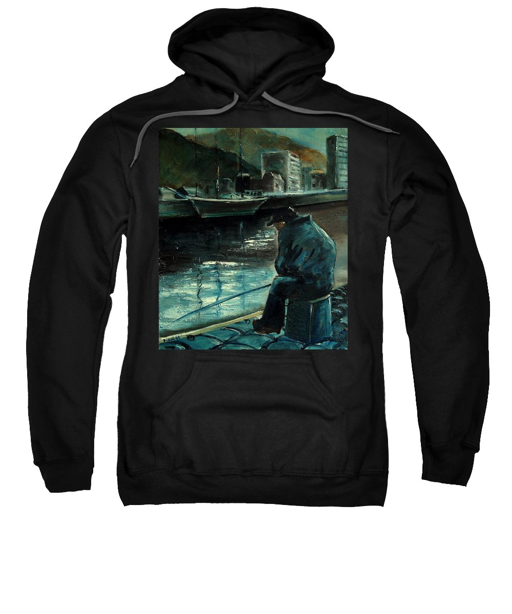 Figurative Sweatshirt featuring the painting Fisherman's Patience by Pol Ledent