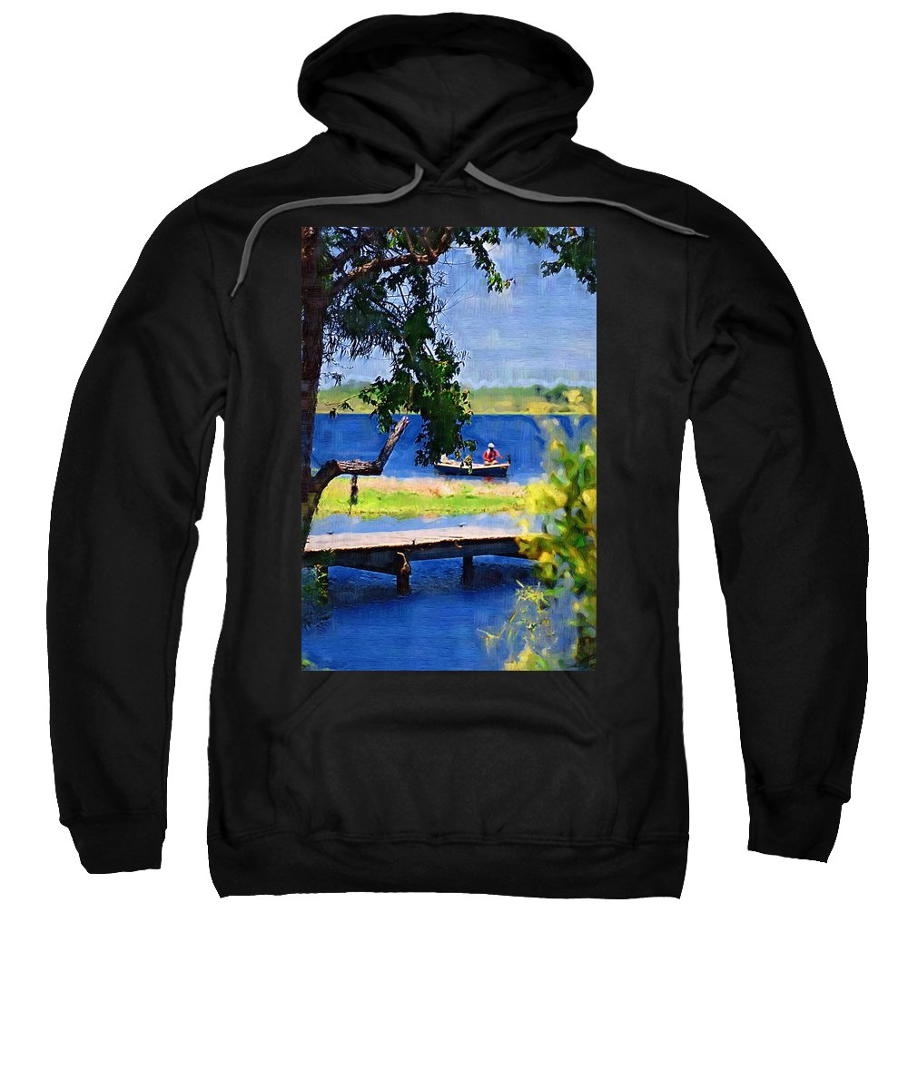 Ponds Sweatshirt featuring the photograph Fishin by Donna Bentley
