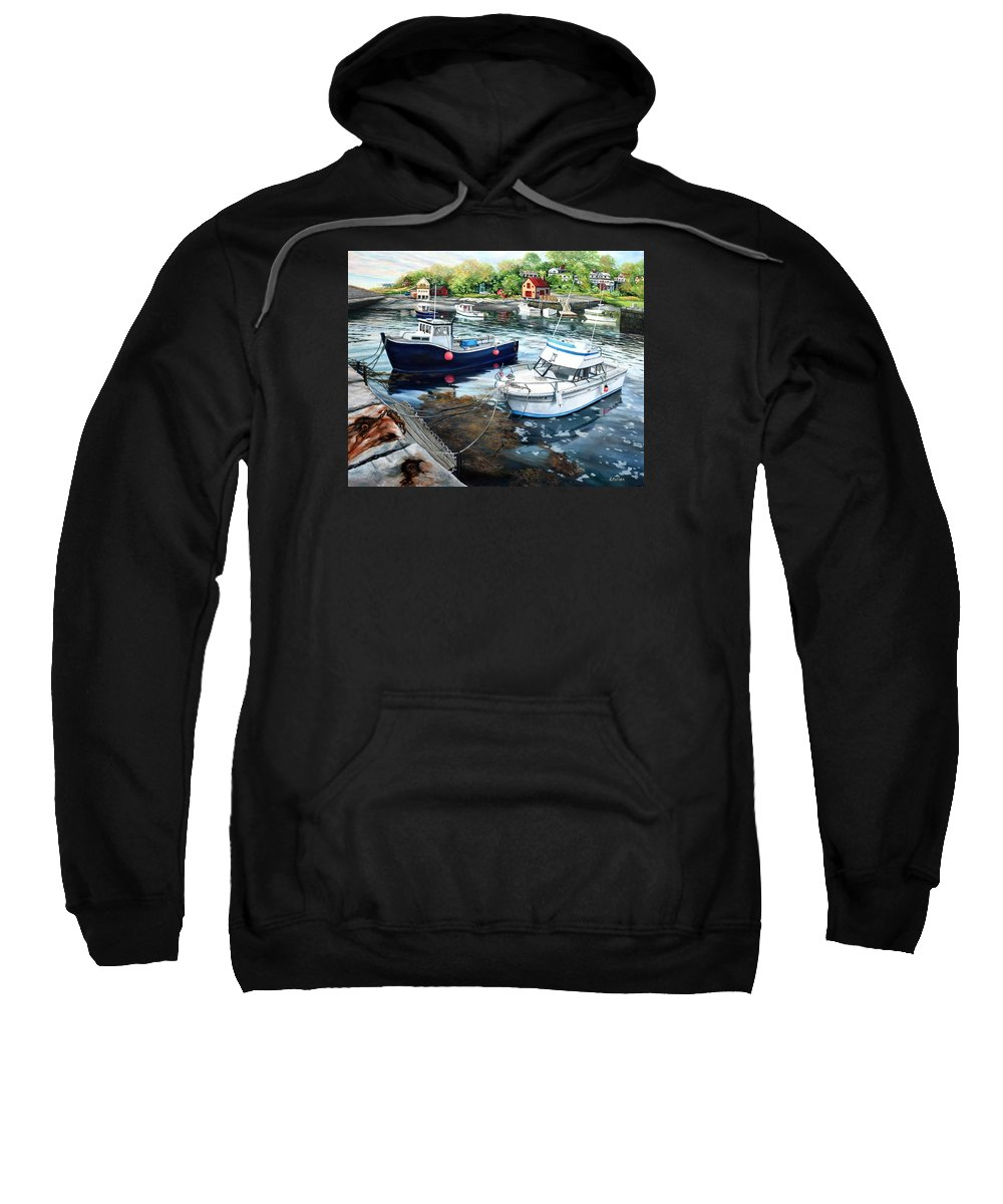 Cape Ann Sweatshirt featuring the painting Fishing Boats In Lanes Cove Gloucester Ma by Eileen Patten Oliver