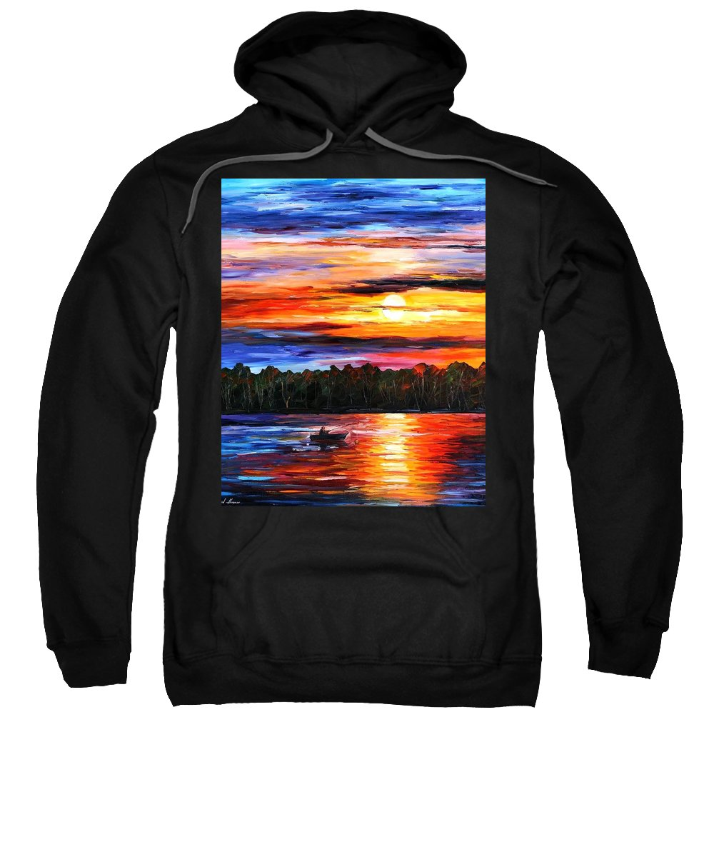 Afremov Sweatshirt featuring the painting Fishing By Sunset by Leonid Afremov