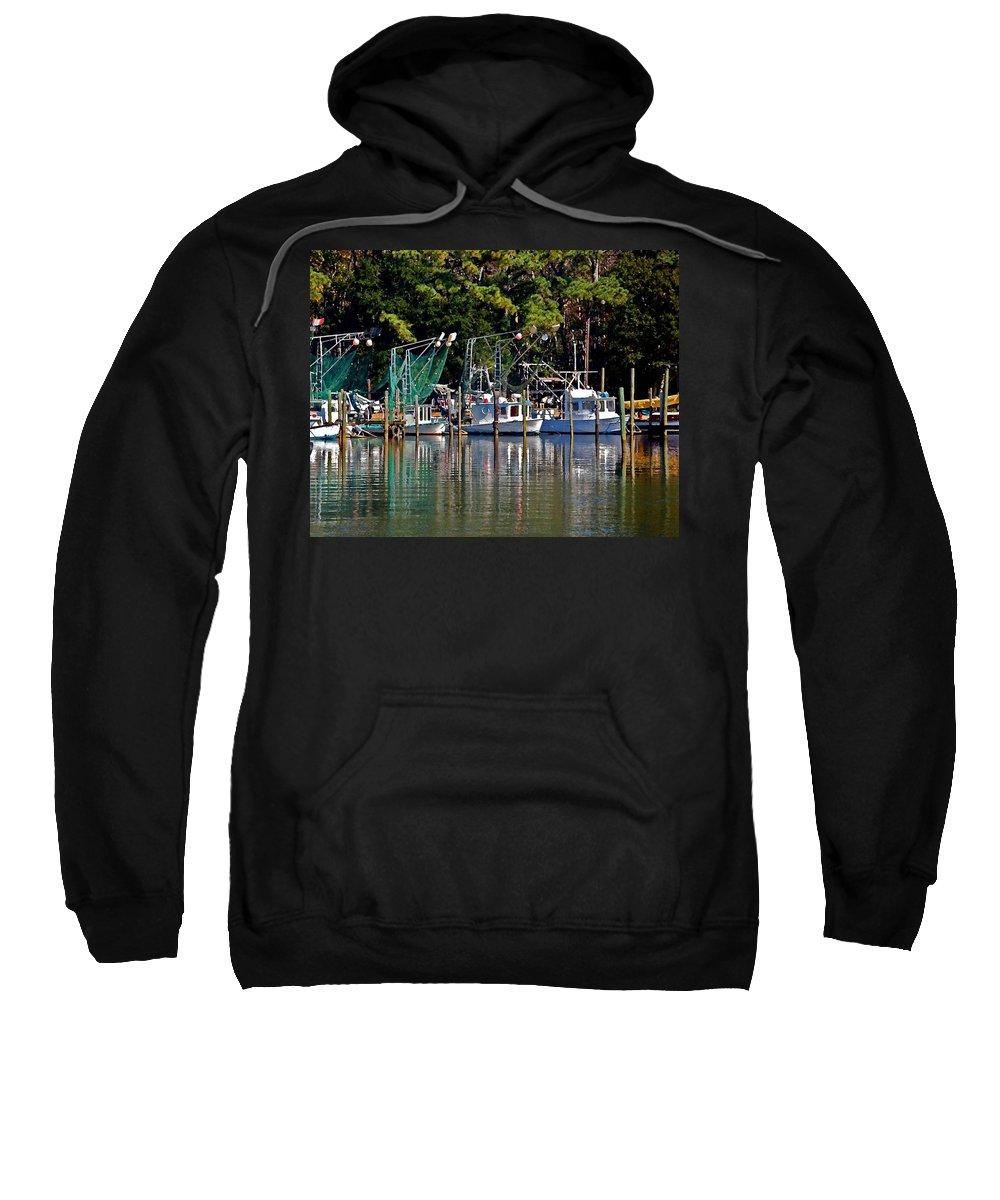 Shrimp Boat Sweatshirt featuring the painting Fishing Fleet by Michael Thomas