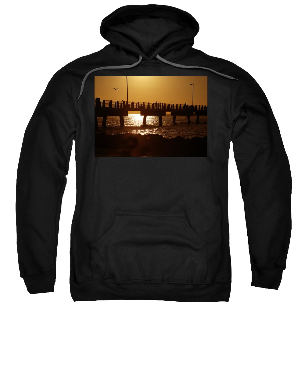 Fort De Soto Sweatshirt featuring the photograph Fishing Off The Pier At Fort De Soto At Dusk by Mal Bray