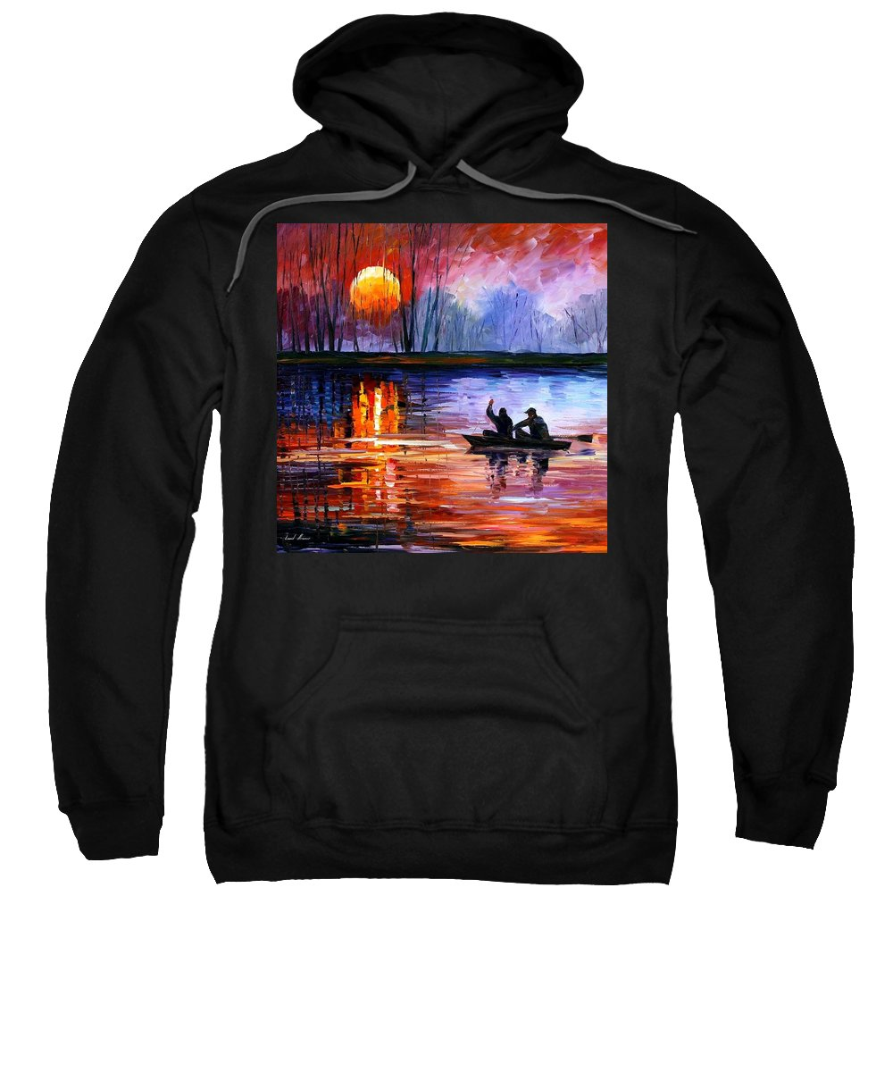 Seascape Sweatshirt featuring the painting Fishing On The Lake by Leonid Afremov