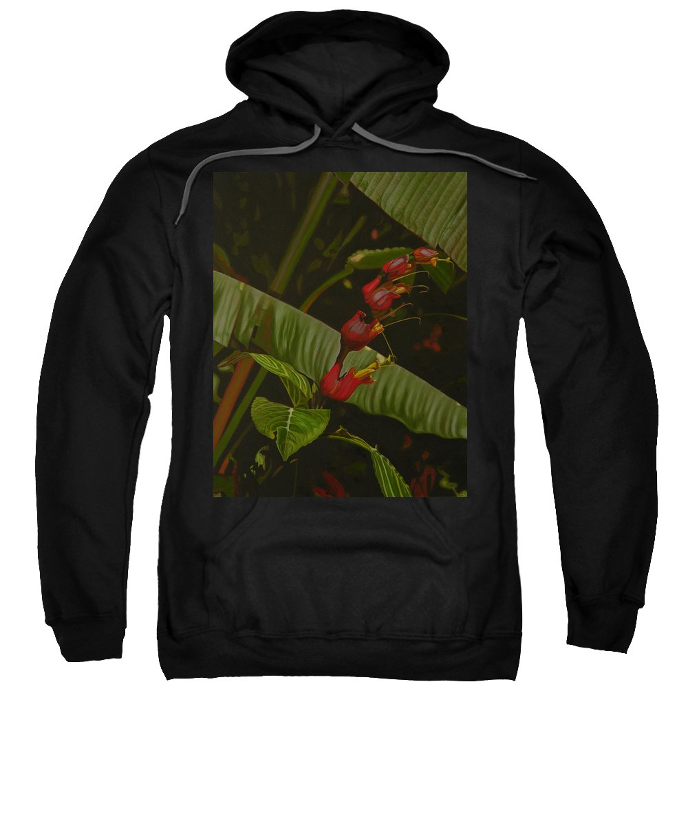 Floral Sweatshirt featuring the painting Five Red by Thu Nguyen