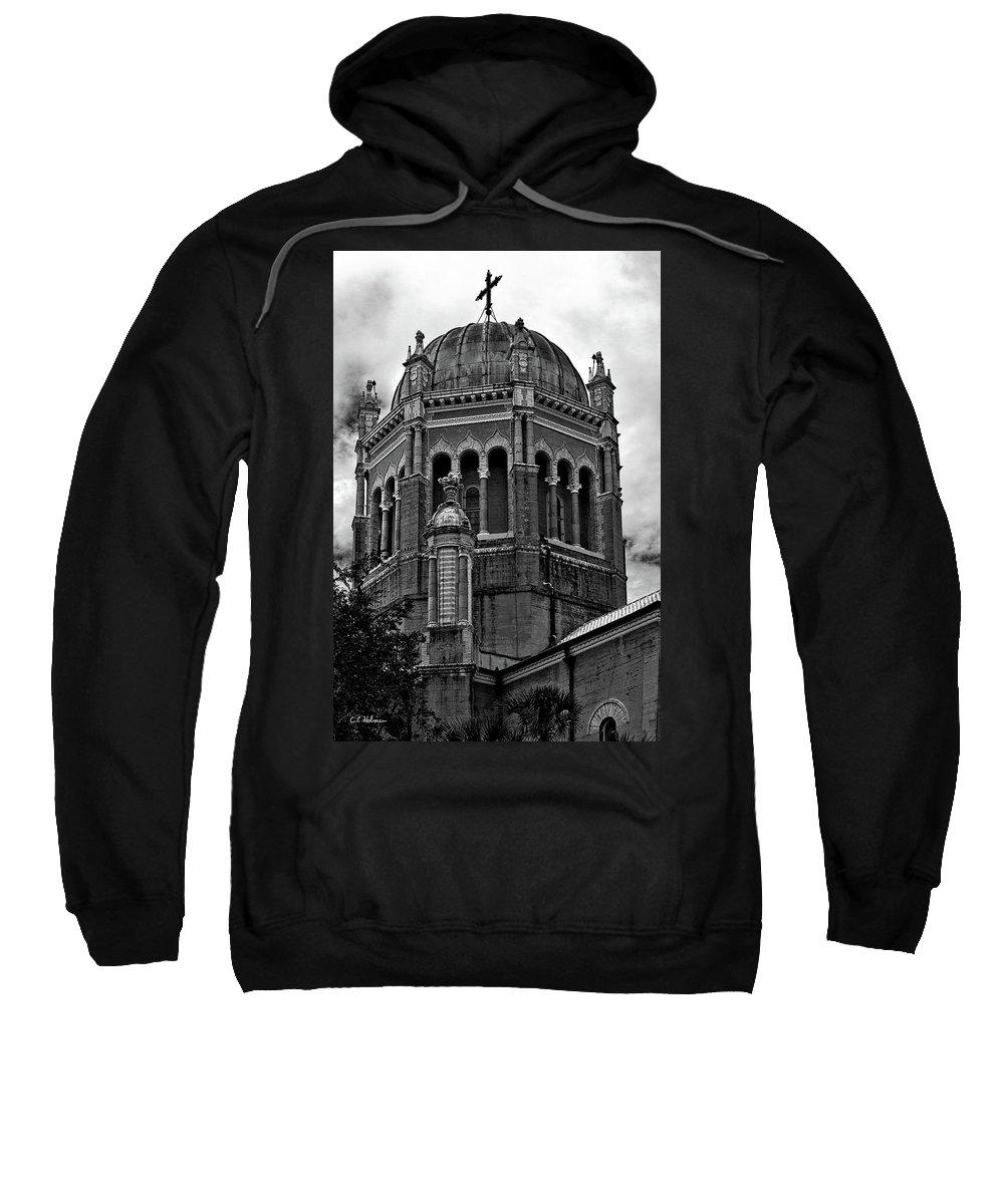 Florida Sweatshirt featuring the photograph Flagler Memorial Presbyterian Church 3 B-w by Christopher Holmes
