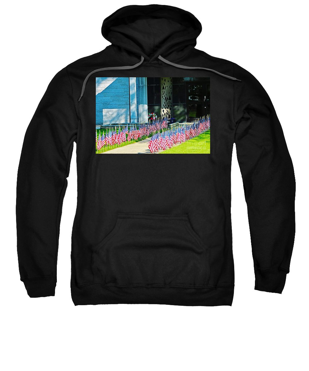 Flags Sweatshirt featuring the photograph Flags Along The Walkway by Don Baker