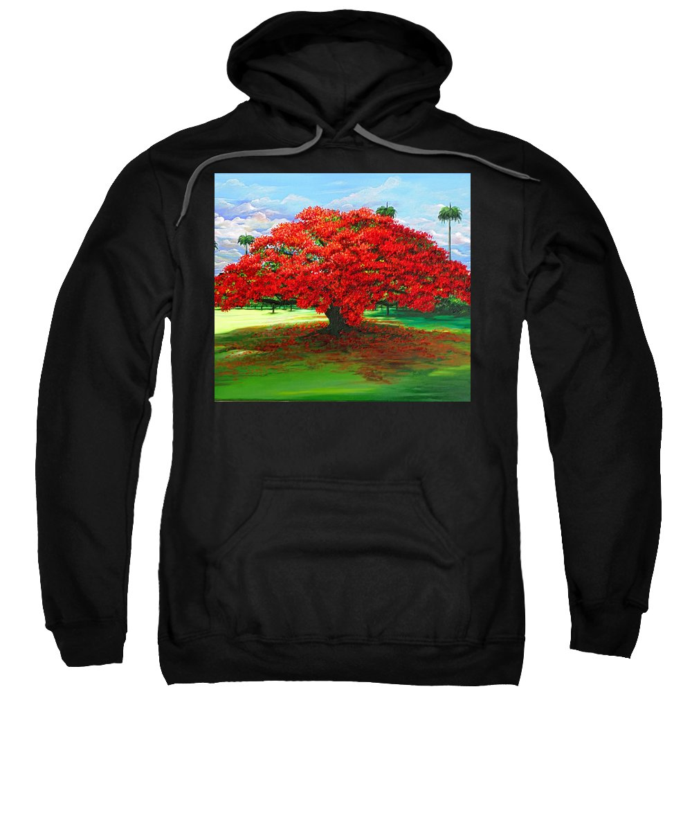 Flamboyant Tree Sweatshirt featuring the painting Flamboyant Ablaze by Karin Dawn Kelshall- Best