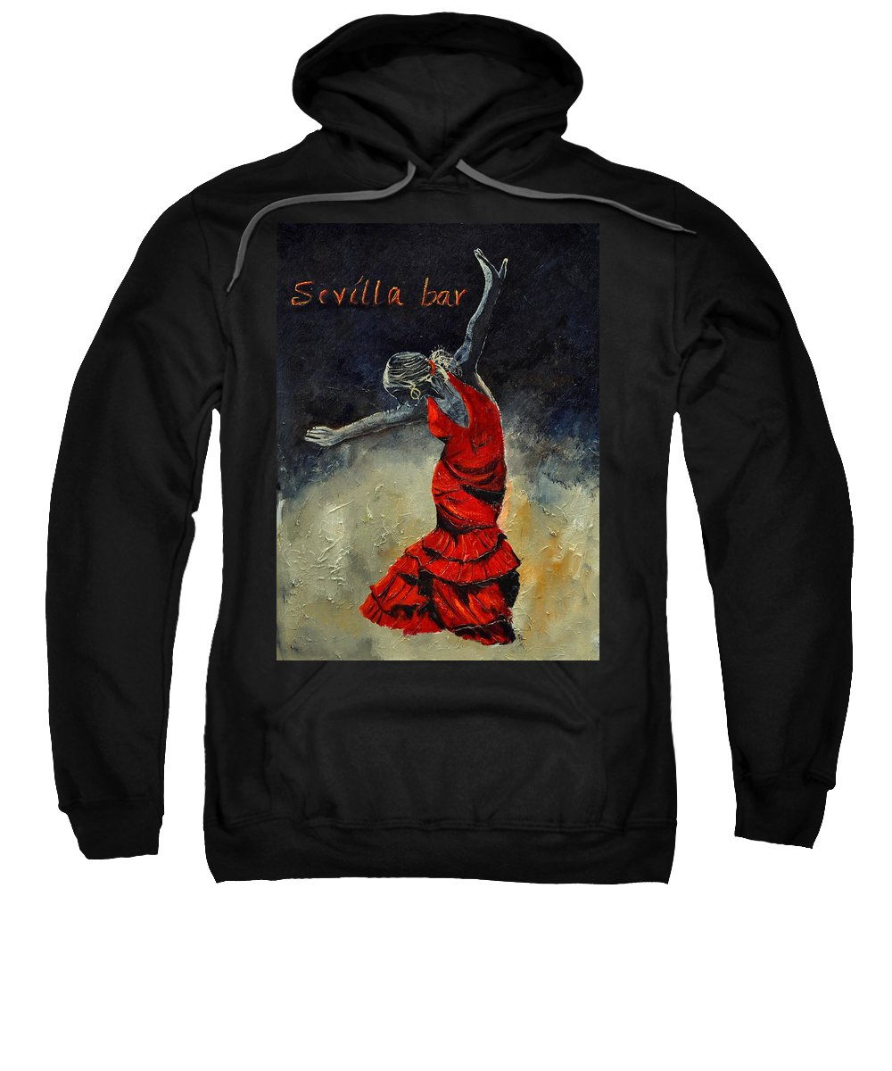 Flamenco Sweatshirt featuring the painting Flamenco 18 by Pol Ledent