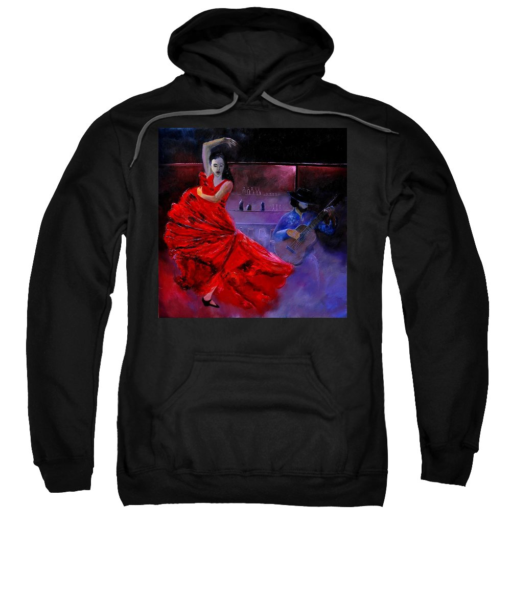Flamenco Sweatshirt featuring the painting Flamenco 88 by Pol Ledent