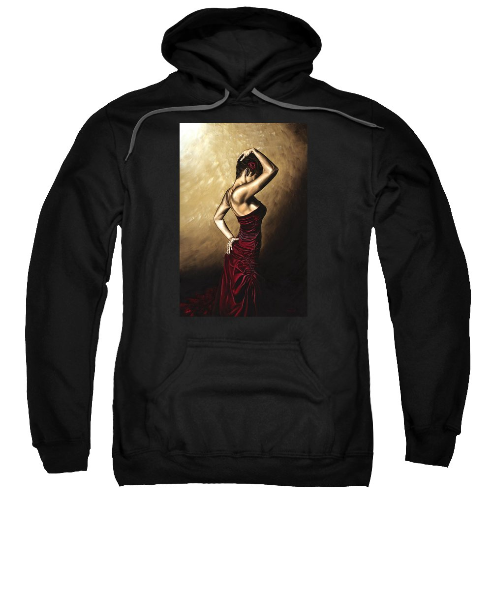 Flamenco Sweatshirt featuring the painting Flamenco Woman by Richard Young