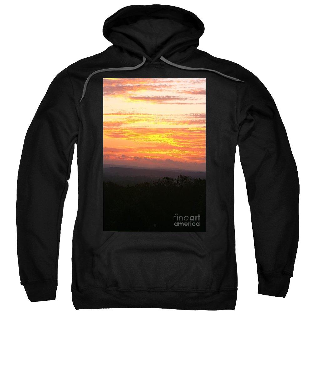 Sunrise Sweatshirt featuring the photograph Flaming Autumn Sunrise by Nadine Rippelmeyer