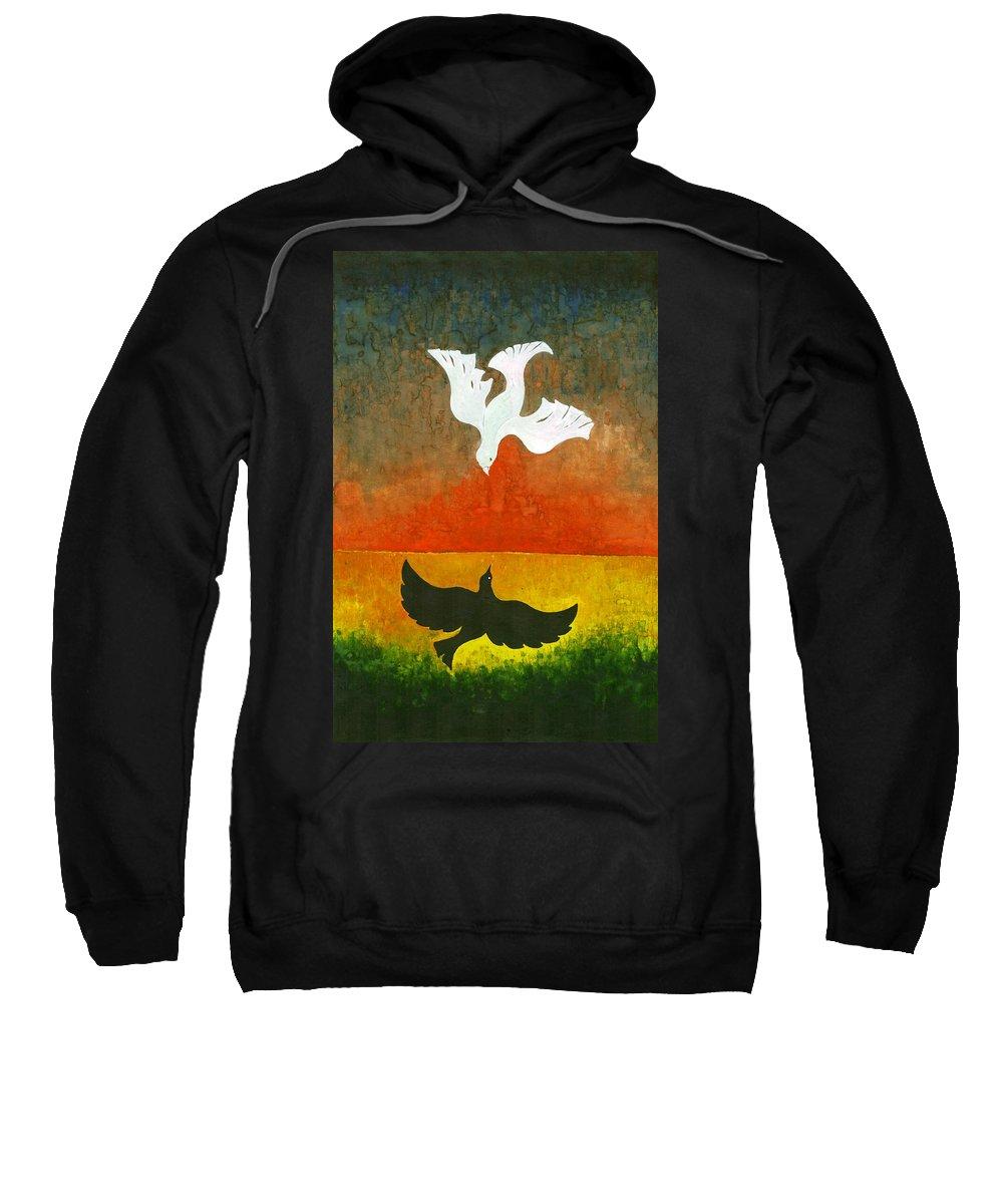 Colour Sweatshirt featuring the painting Flight II by Wojtek Kowalski