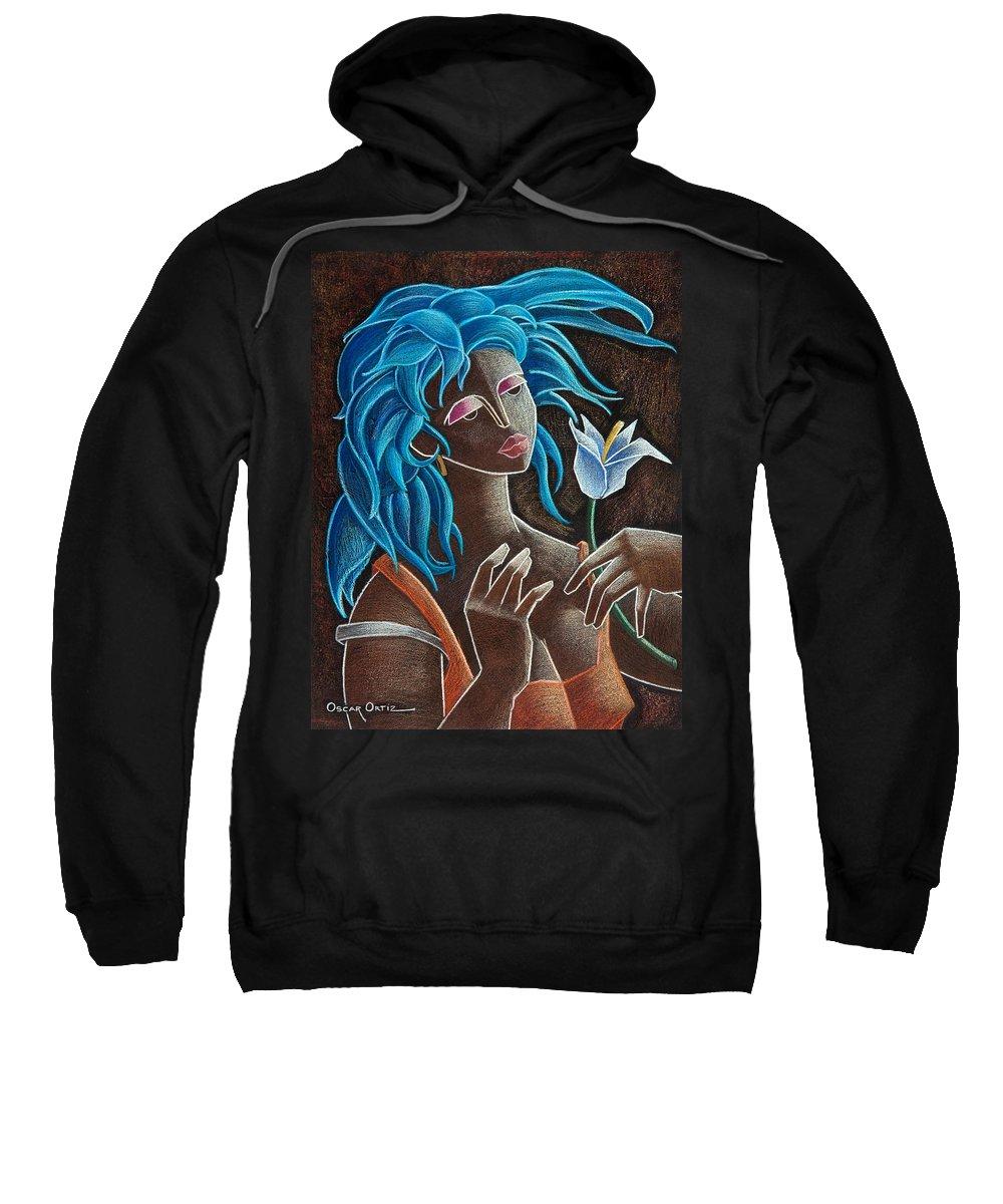 Puerto Rico Sweatshirt featuring the painting Flor y viento by Oscar Ortiz