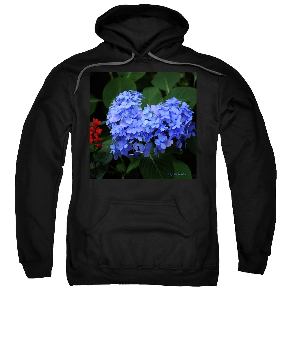 Flowers Sweatshirt featuring the digital art Floral Duet by DigiArt Diaries by Vicky B Fuller