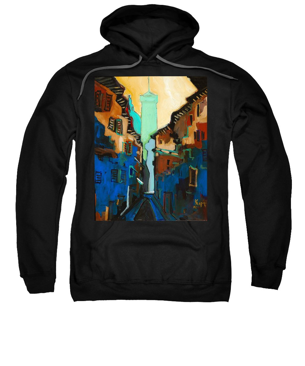 Florence Sweatshirt featuring the painting Florence Street Study by Kurt Hausmann