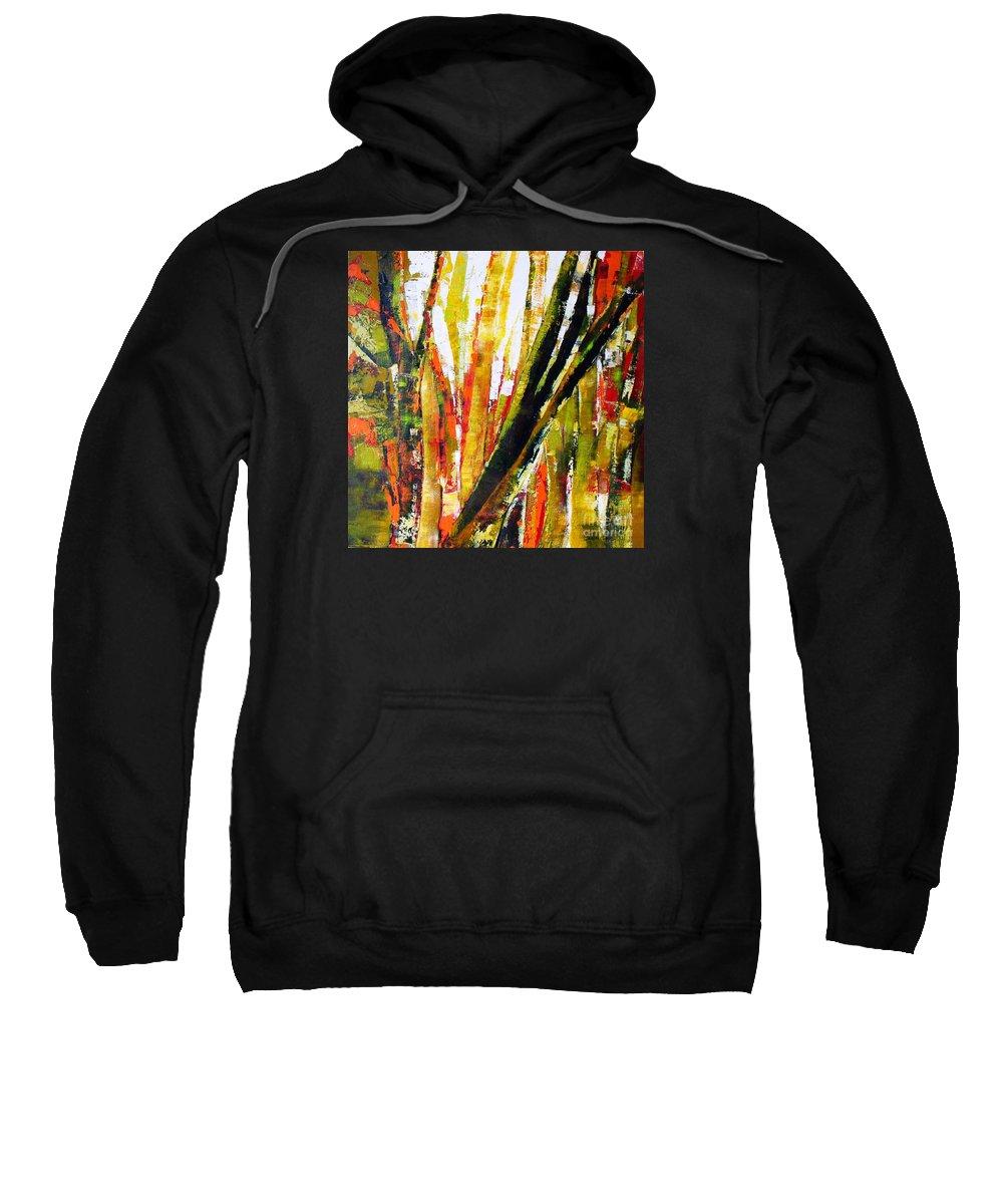 Abstract Trees Sweatshirt featuring the painting Floresta Vi by Fernanda Cruz