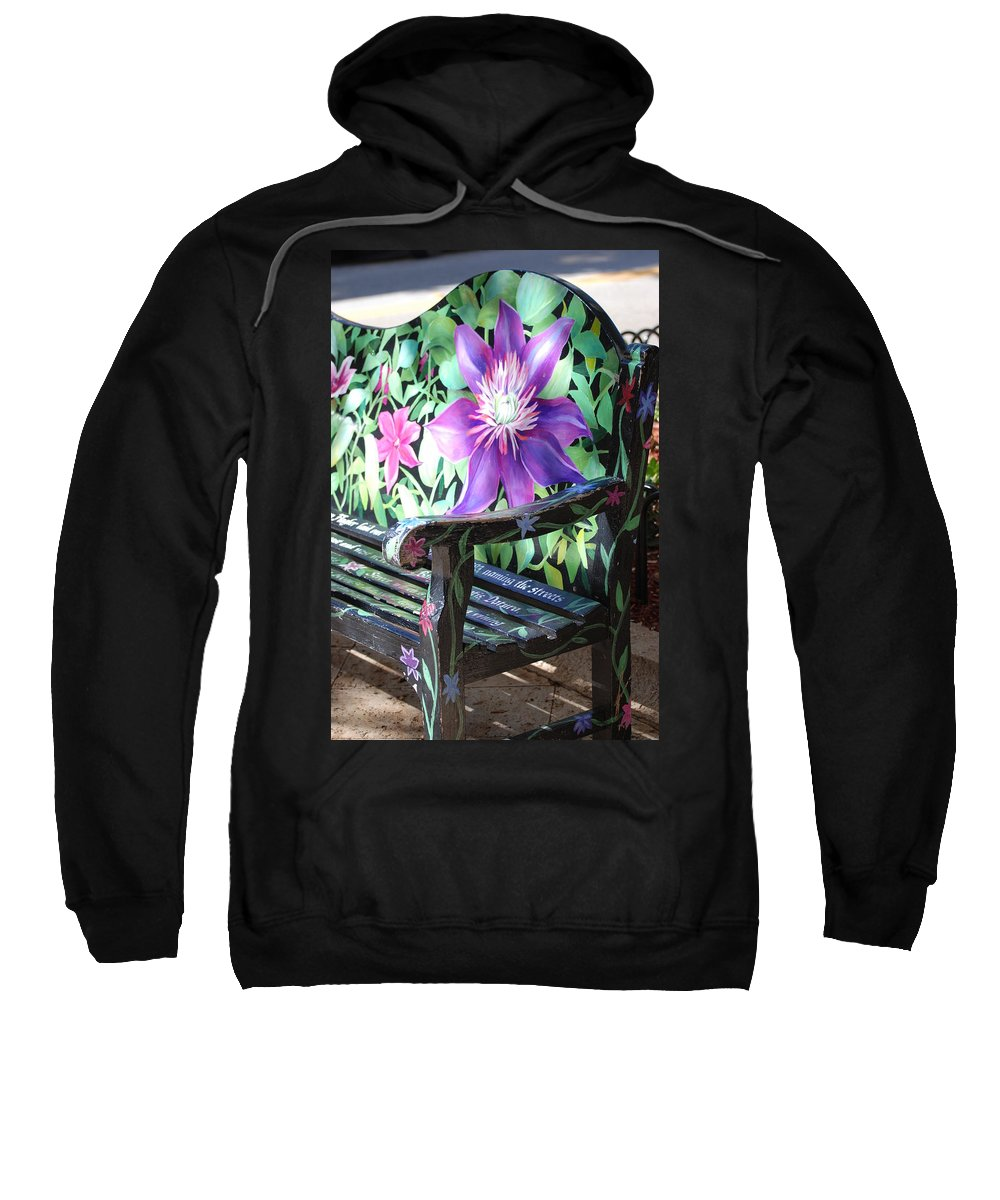 Macro Sweatshirt featuring the photograph Flower Bench by Rob Hans