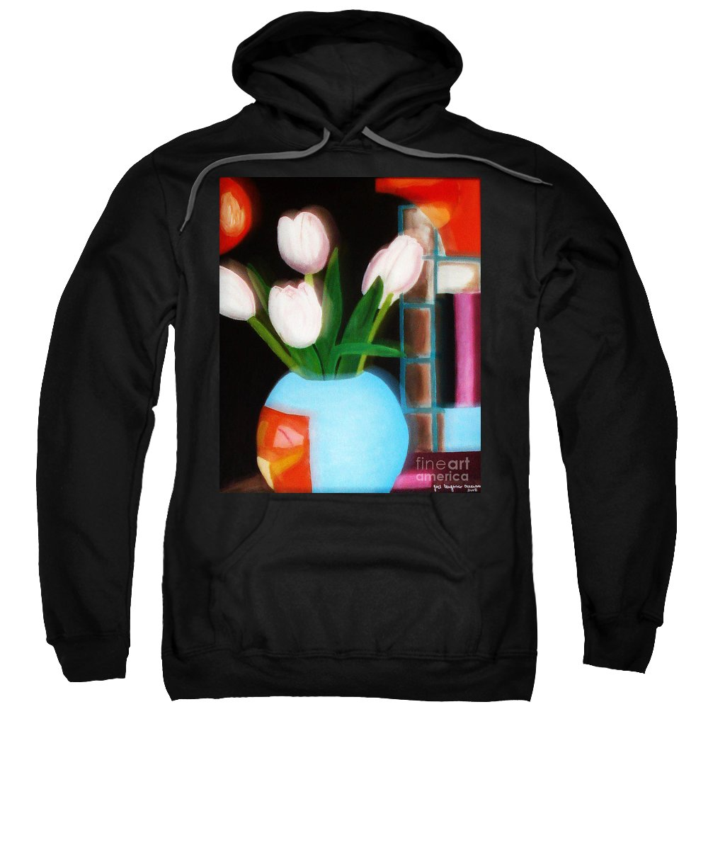 Landscape Sweatshirt featuring the painting Flower Decor by Yael VanGruber