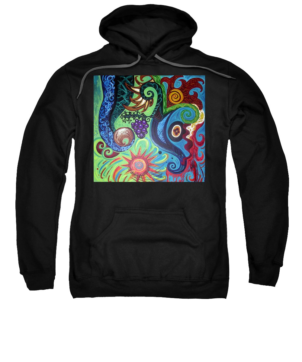 Flower Goyle Sweatshirt featuring the painting Flower Goyle With Grapes by Genevieve Esson