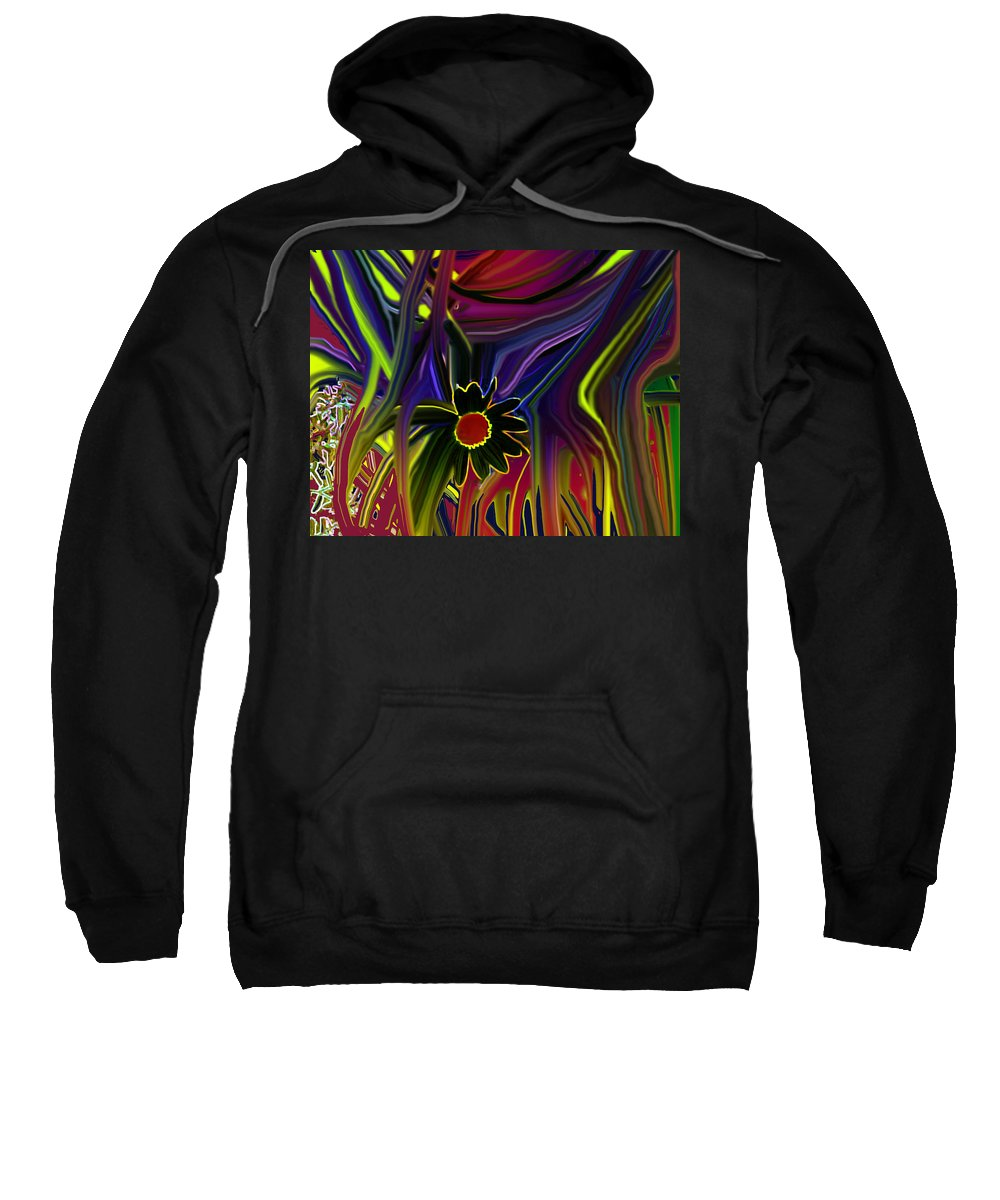 Abstract Sweatshirt featuring the digital art Flower Power by Ian MacDonald