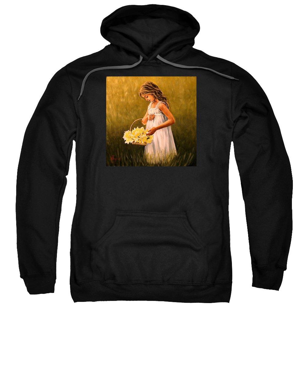 Girl Sweatshirt featuring the painting Flower S Basket by Natalia Tejera
