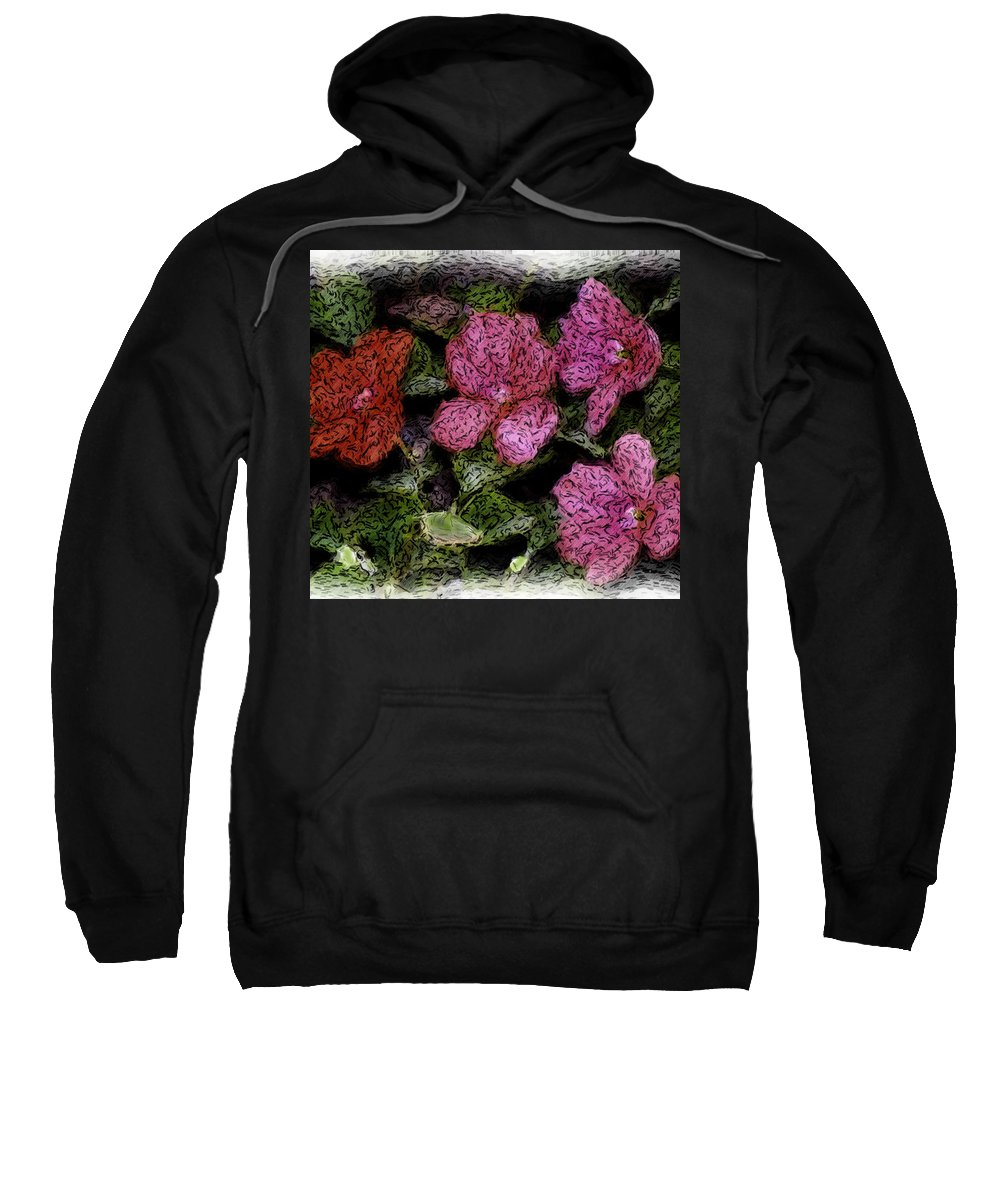 Digital Photograph Sweatshirt featuring the photograph Flower Sketch by David Lane