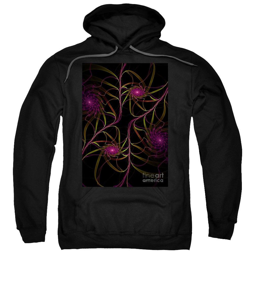 Digital Sweatshirt featuring the digital art Flowering Vine by Deborah Benoit