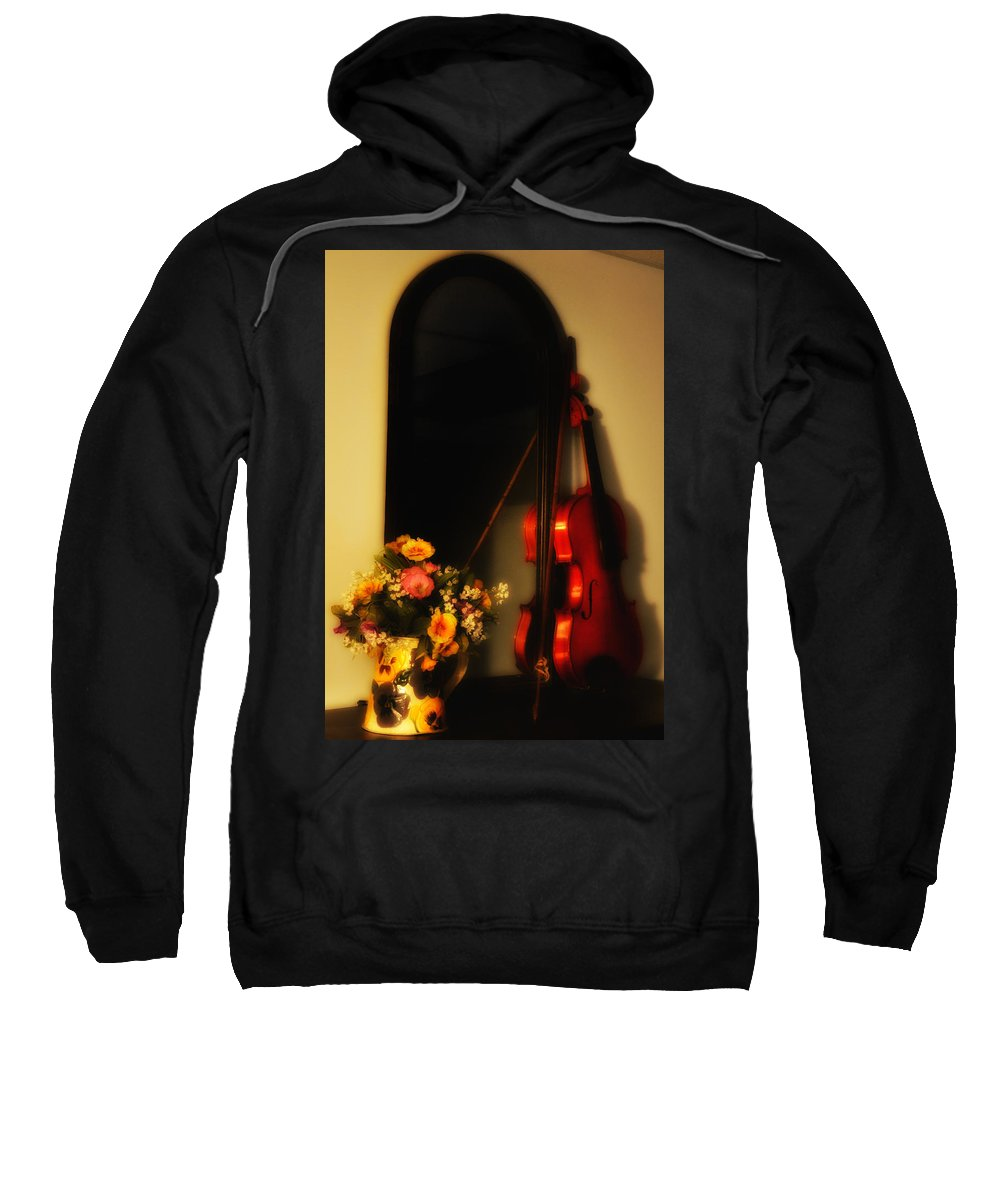 Flowers Sweatshirt featuring the photograph Flowers And Violin by Bill Cannon