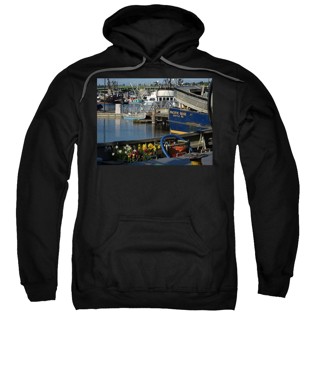 Boats Sweatshirt featuring the photograph Flowers At Fisherman's Terminal by Shirley Stevenson Wallis