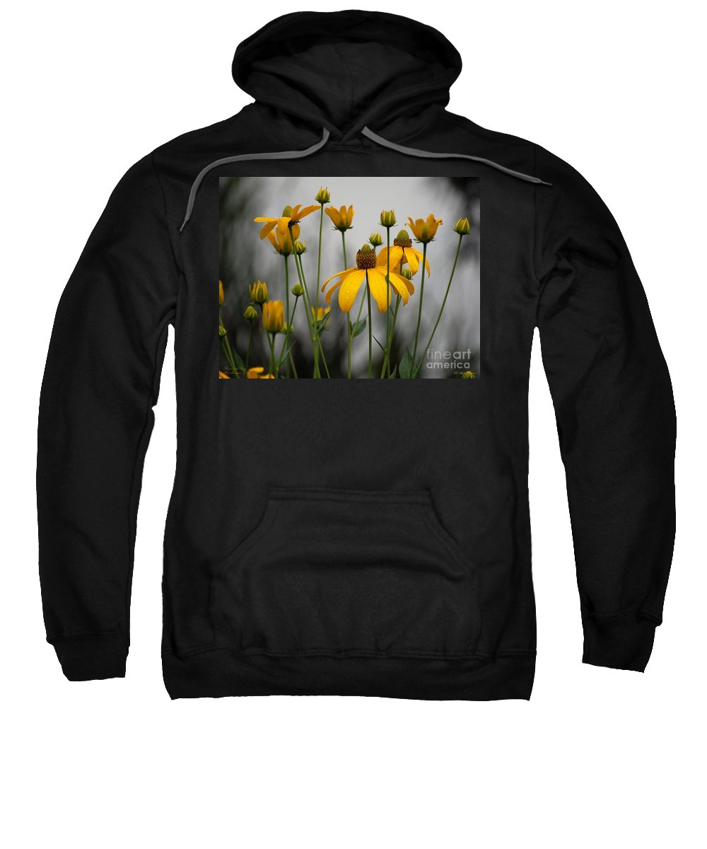 Flowers In The Rain Sweatshirt featuring the photograph Flowers In The Rain by Robert Meanor