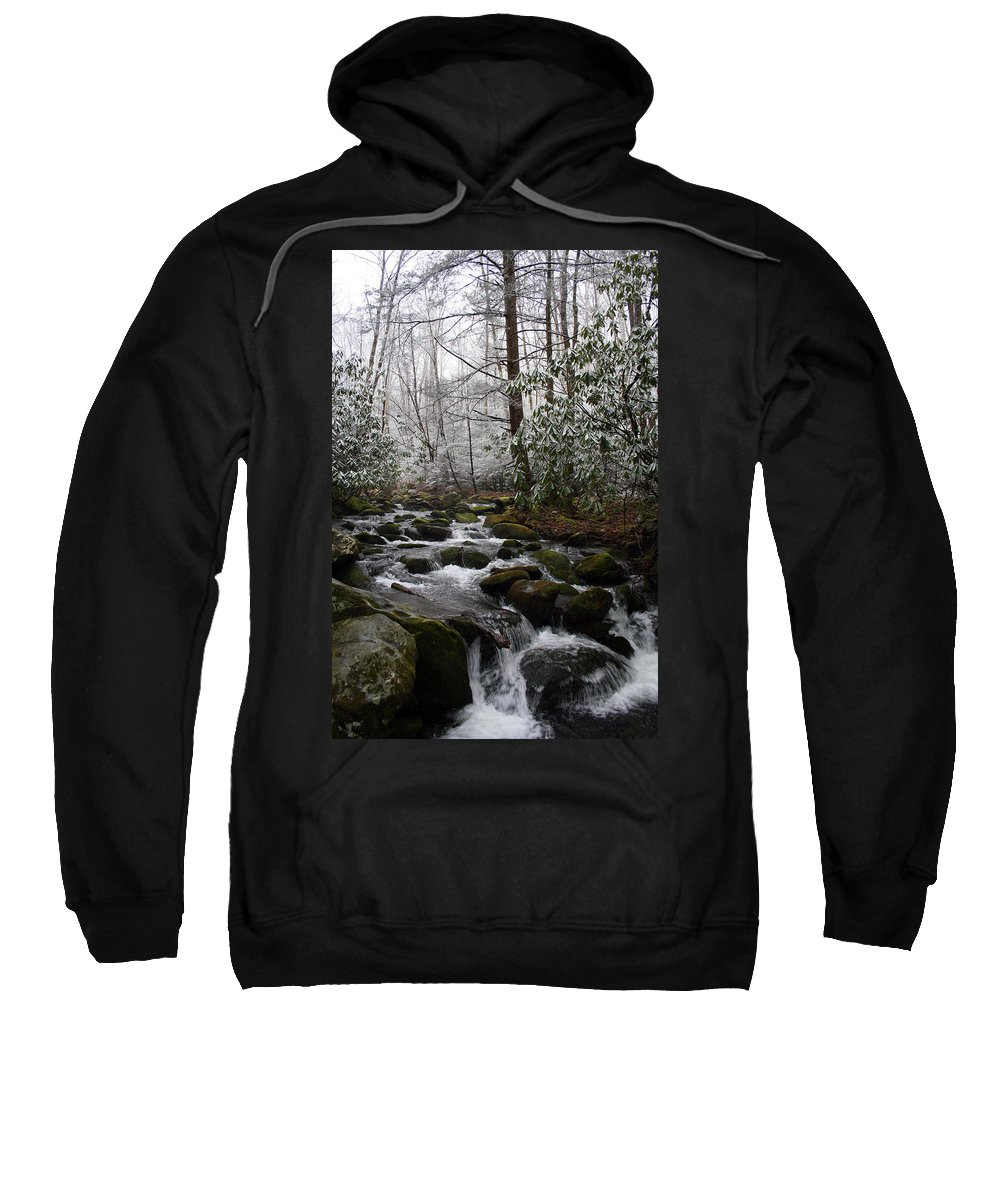 Park Winter Snow White Water Stream Creek Flow River Rock Boulder Tree Green Rush Cold National Sweatshirt featuring the photograph Flowing by Andrei Shliakhau
