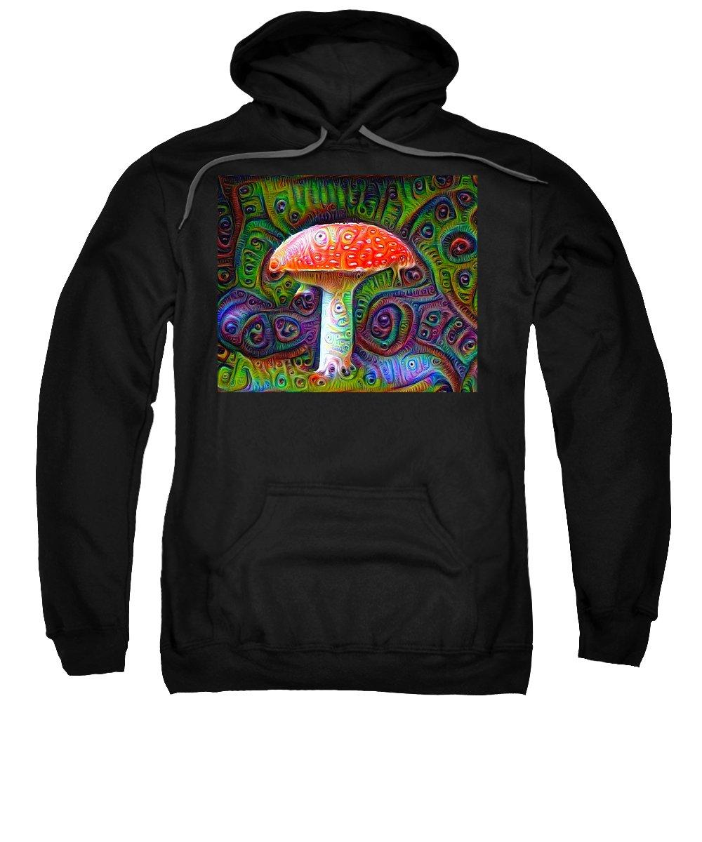 Fly Agaric Sweatshirt featuring the drawing Fly Agaric Magic Mushroom Deep Dream by Matthias Hauser